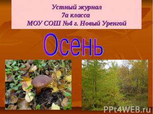 Устный журнал 7а класса МОУ СОШ №4 г. Новый Уренгой