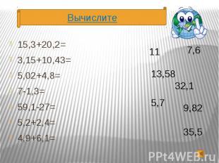 15,3+20,2= 15,3+20,2= 3,15+10,43= 5,02+4,8= 7-1,3= 59,1-27= 5,2+2,4= 4,9+6,1=