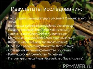 Результаты исследования: Список редких раннецветущих растений Сукмановского леса