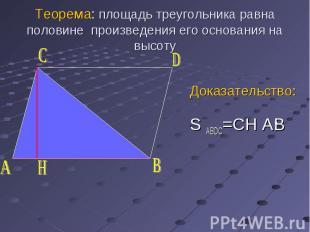 Доказательство: S ABDC=CH AB