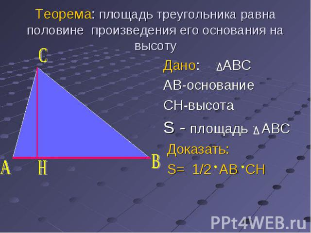 Дано: ABC Дано: ABC AB-основание CH-высота S - площадь ABC Доказать: S= 1/2 AB CH