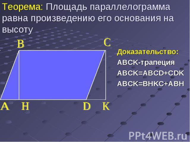 Доказательство: ABCK-трапеция ABCK=ABCD+CDK ABCK=BHKС+ABH