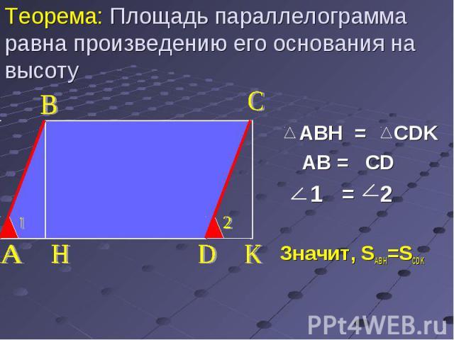 ABH = CDK AB = CD 1 = 2 Значит, SABH=SCDK