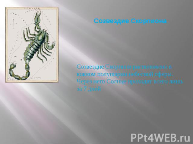 Созвездие Скорпиона Созвездие Скорпион расположено в южном полушарии небесной сферы. Через него Солнце проходит всего лишь за 7 дней