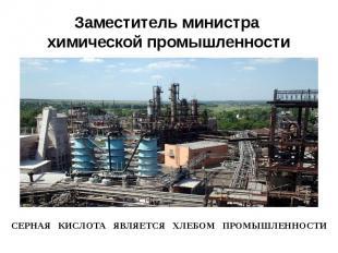 Заместитель министра химической промышленности