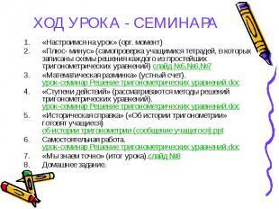 ХОД УРОКА - СЕМИНАРА «Настроимся на урок» (орг. момент) «Плюс- минус» (самопрове