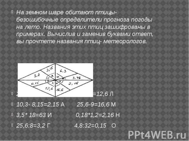На земном шаре обитают птицы- безошибочные определители прогноза погоды на лето. Названия этих птиц зашифрованы в примерах. Вычислив и заменив буквами ответ, вы прочтете названия птиц- метеорологов. 2,1+1,36=3,46 Ф 3,6+9=12,6 Л 10,3- 8,15=2,15 А 25,…
