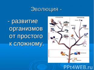Эволюция - - развитие организмов от простого к сложному.