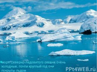 моря Северно-ледовитого океана очень холодные, почти круглый год они покрыты льд