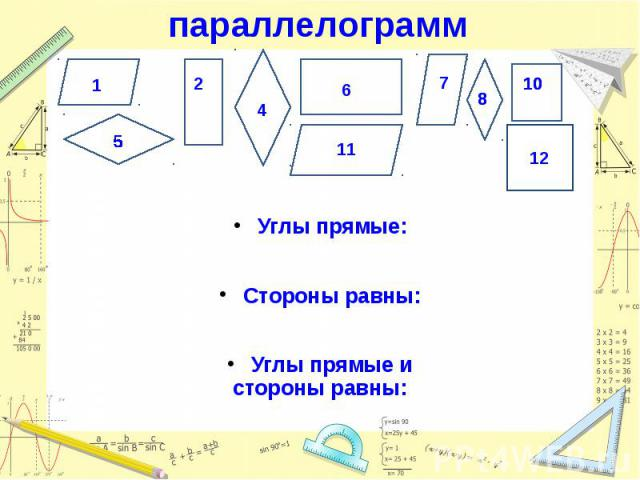 параллелограмм Углы прямые: Стороны равны: Углы прямые и стороны равны: