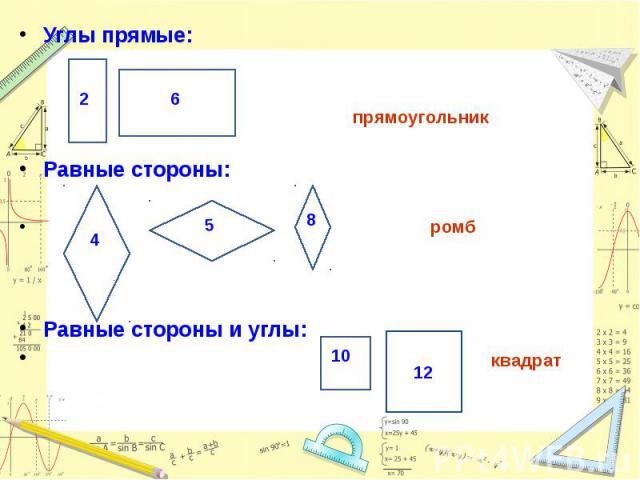 Углы прямые: Углы прямые: прямоугольник Равные стороны: ромб Равные стороны и углы: квадрат