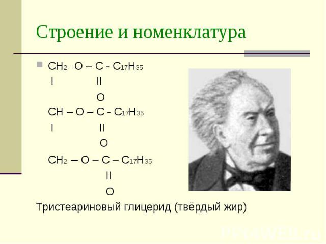 Строение и номенклатура CH2 –O – C - C17H35 I II O CH – O – C - C17H35 I II O CH2 – O – C – C17H35 II O Тристеариновый глицерид (твёрдый жир)