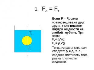 1. FA = Fт