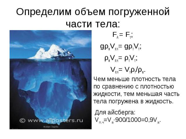 Определим объем погруженной части тела: Для айсберга: Vпч=Vа900/1000=0,9Vа