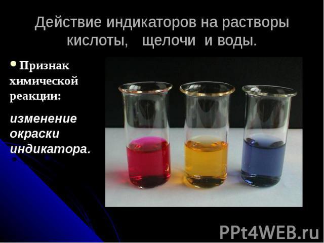 Действие индикаторов на растворы кислоты, щелочи и воды.