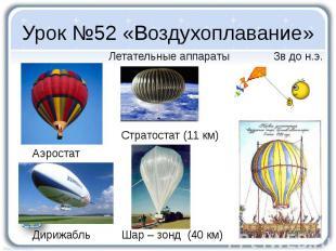 Урок №52 «Воздухоплавание» Летательные аппараты