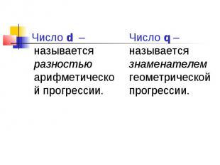 Число d – называется разностью арифметической прогрессии. Число d – называется р