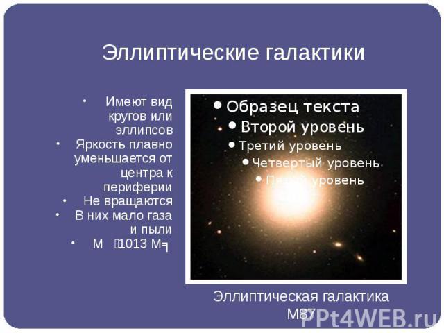 Эллиптические галактики Имеют вид кругов или эллипсов Яркость плавно уменьшается от центра к периферии Не вращаются В них мало газа и пыли М 1013 Мʘ