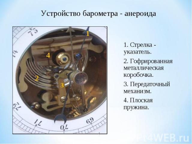 1. Стрелка - указатель. 1. Стрелка - указатель. 2. Гофрированная металлическая коробочка. 3. Передаточный механизм. 4. Плоская пружина.