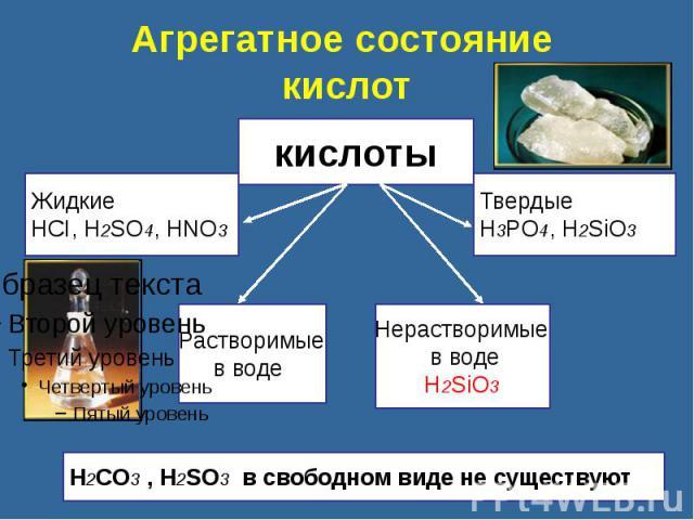 Агрегатное состояние кислот