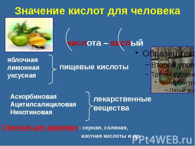 Значение кислот для человека