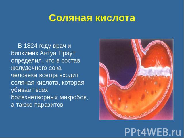 Соляная кислота В 1824 году врач и биохимик Антуа Праут определил, что в состав желудочного сока человека всегда входит соляная кислота, которая убивает всех болезнетворных микробов, а также паразитов.