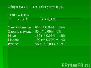 Общая масса – 1130 г без учета воды Общая масса – 1130 г без учета воды 1130 г –