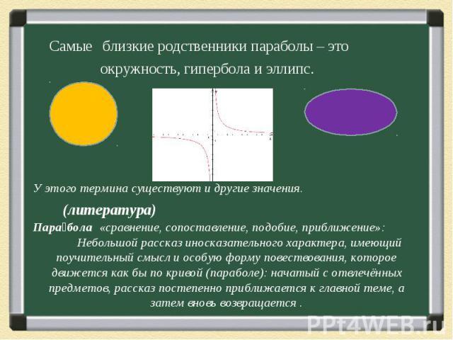 Самые близкие родственники параболы – это Самые близкие родственники параболы – это окружность, гипербола и эллипс.