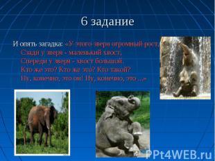6 задание И опять загадка: «У этого зверя огромный рост, Сзади у зверя - маленьк