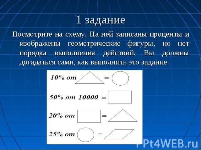 1 задание Посмотрите на схему. На ней записаны проценты и изображены геометрические фигуры, но нет порядка выполнения действий. Вы должны догадаться сами, как выполнить это задание.