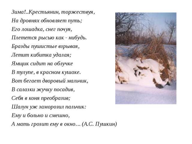 Зима!..Крестьянин, торжествуя, Зима!..Крестьянин, торжествуя, На дровнях обновляет путь; Его лошадка, снег почуя, Плетется рысью как - нибудь. Бразды пушистые взрывая, Летит кибитка удалая; Ямщик сидит на облучке В тулупе, в красном кушаке. Вот бега…