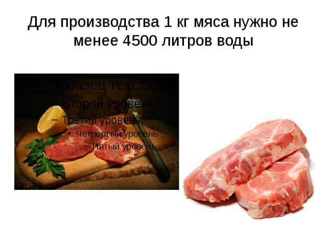 Для производства 1 кг мяса нужно не менее 4500 литров воды