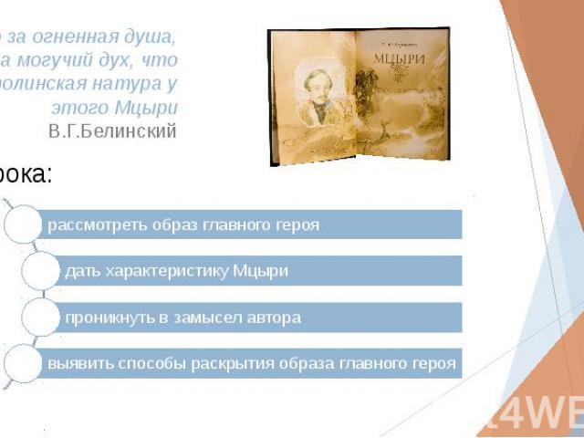 …что за огненная душа, что за могучий дух, что за исполинская натура у этого Мцыри В.Г.Белинский