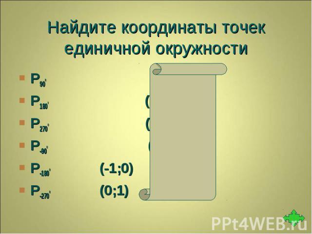 Р900 (0;1) Р900 (0;1) Р1800 (-1;0) Р2700 (0;-1) Р-900 (0;-1) Р-1800 (-1;0) Р-2700 (0;1)