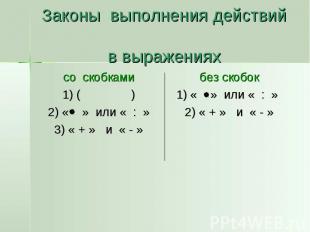 Законы выполнения действий в выражениях со скобками 1) ( ) 2) « » или « : » 3) «