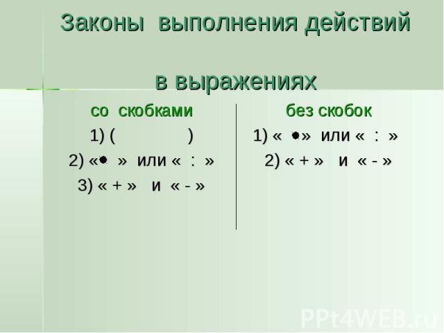 Законы выполнения действий в выражениях со скобками 1) ( ) 2) « » или « : » 3) « + » и « - »