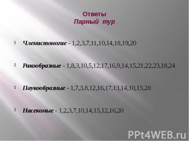 Ответы Парный тур Членистоногие - 1,2,3,7,11,10,14,18,19,20 Ракообразные - 1,8,3,10,5,12,17,16,9,14,15,21,22,23,18,24 Паукообразные - 1,7,3,8,12,16,17,13,14,10,15,20 Насекомые - 1,2,3,7,10,14,15,12,16,20