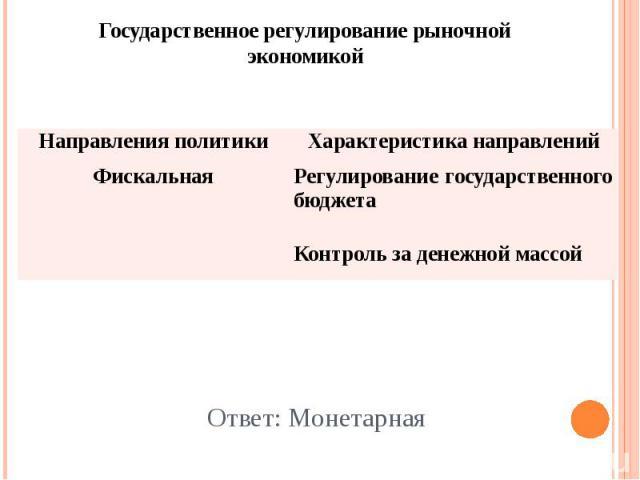 Ответ: Монетарная