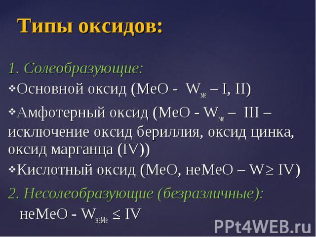 1. Солеобразующие: 1. Солеобразующие: Основной оксид (МеО - Wме – I, II) Амфотерный оксид (МеО - Wме – III – исключение оксид бериллия, оксид цинка, оксид марганца (IV)) Кислотный оксид (МеО, неМеО – W ≥ IV) 2. Несолеобразующие (безразличные): неМеО…
