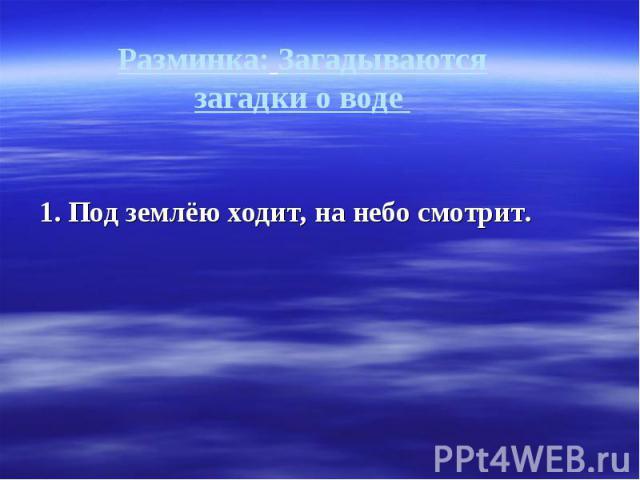 Разминка: Загадываются загадки о воде 1. Под землёю ходит, на небо смотрит.