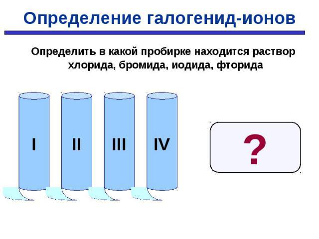 Определить в какой пробирке находится раствор хлорида, бромида, иодида, фторида Определить в какой пробирке находится раствор хлорида, бромида, иодида, фторида