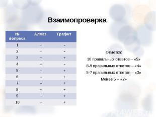 Отметка: Отметка: 10 правильных ответов – «5» 8-9 правильных ответов – «4» 5-7 п