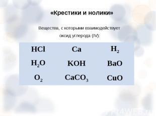 Вещества, с которыми взаимодействует Вещества, с которыми взаимодействует оксид