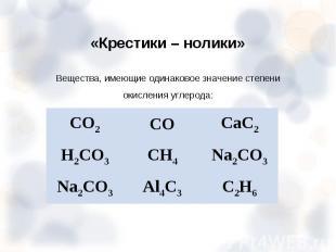 Вещества, имеющие одинаковое значение степени окисления углерода: Вещества, имею