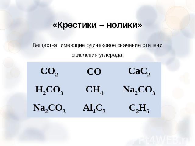 Вещества, имеющие одинаковое значение степени окисления углерода: Вещества, имеющие одинаковое значение степени окисления углерода: