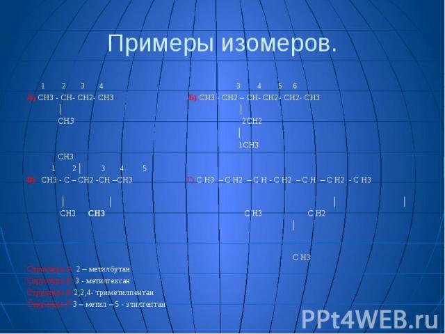 Примеры изомеров. 1 2 3 4 3 4 5 6 А) CH3 - CH- CH2- CH3 Б) CH3 - CH2 – CH- CH2- CH2- CH3 │ │ CH3 2CH2 │ 1CH3 CH3 1 2│ 3 4 5 В) CH3 - C – CH2 -CH –CH3 Г) С H3 – С H2 – С H - С H2 – С H – С H2 - С H3 │ │ │ │ CH3 СН3 С H3 С H2 │ С H3 Структура А 2 – ме…