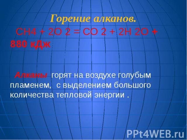 Горение алканов. СH4 + 2О 2 = СО 2 + 2H 2О + 880 кДж Алканы горят на воздухе голубым пламенем, с выделением большого количества тепловой энергии .