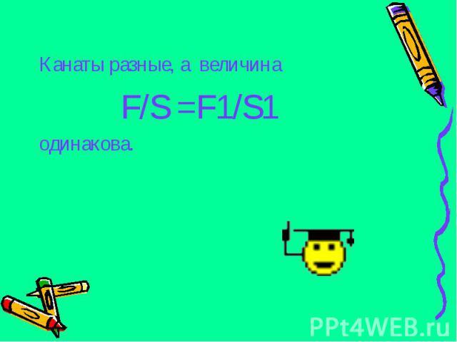 Канаты разные, а величина Канаты разные, а величина F/S =F1/S1 одинакова.