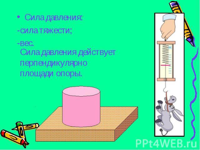 Сила давления: Сила давления: -сила тяжести; -вес.