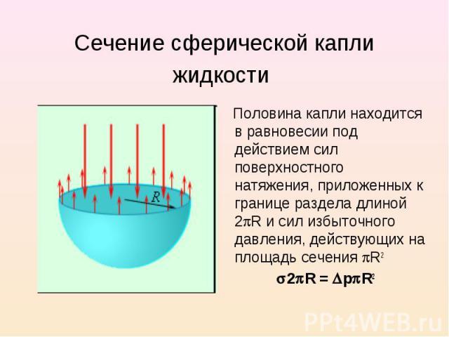 Сечение сферической капли жидкости Половина капли находится в равновесии под действием сил поверхностного натяжения, приложенных к границе раздела длиной 2 R и сил избыточного давления, действующих на площадь сечения R2 2 R = р R2